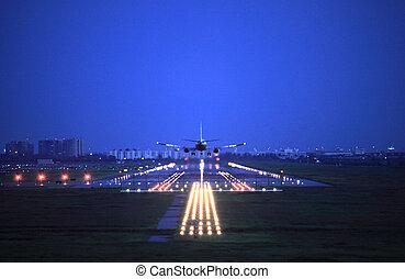mouche, passager, sur, haut, avion, take-of