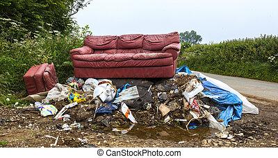 mouche, question, social, déchargé, gaspillage, pencher, causer, ambiant, pollution, illégal, campagne