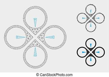 mouche, triangle, réseau, maille, bourdon, vecteur, modèle, mosaïque, icône