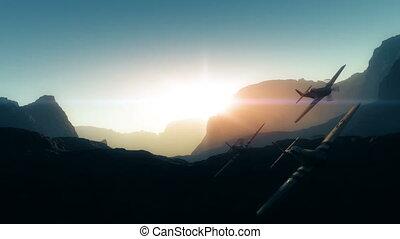 mouche, vieux, coucher soleil avion, 4k