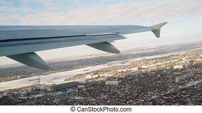 mouche, ville, sur, avion, fenêtre., aile, vue