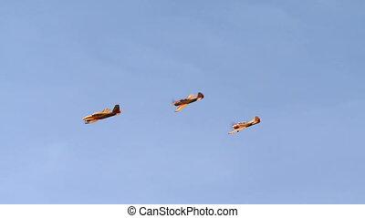 mouche, vue, formation, jaune, avions