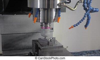 moudre, métal, tourner, machine, automatique, découpage, workpiece, usine