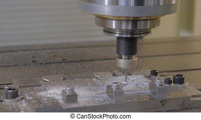 moudre, usine, machine découpage, tourner, métal, workpiece