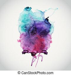 mouillé, album, espace, vide, message., couleurs, fond, illustration, vecteur, main, composition, éléments, paper., dessiné, tache, résumé, texte, aquarelles, aquarelle
