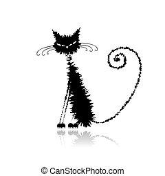 mouillé, chat, noir, ton, conception, rigolote
