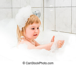 mousse, bébé, vieux, mignon, deux, bain, année, baigne