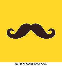 moustache, icône, vecteur