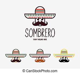 moustache, mexicain, emblem., hat., rigolote, vecteur, logo, ou, espagnol, festival, carnaval, homme, sombrero
