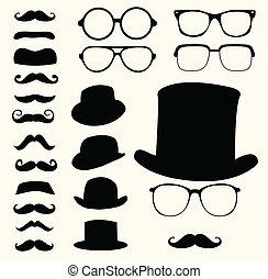 moustaches, chapeaux, lunettes