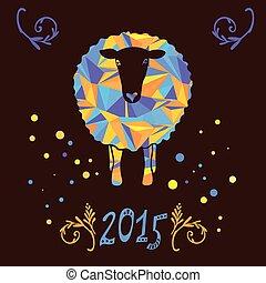 mouton, 2015, vecteur, carte