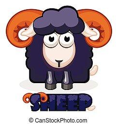 mouton, carrée, mignon, dessin animé, noir