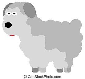 mouton, dessin animé, mignon, fond, transparent, gris, style, isolé