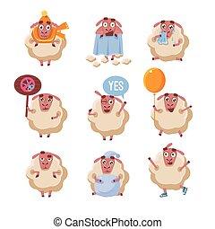 mouton, ensemble, caractère, dessin animé