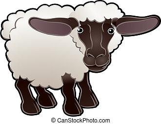mouton, illustration, mignon, vecteur, animal ferme
