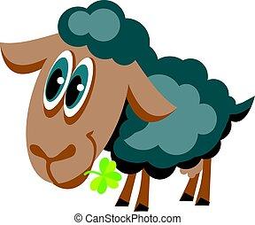 mouton, mignon, gris, chanceux, illustration, trèfle, dessin animé