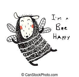 mouton, rigolote, mignon, abeille, carte, heureux