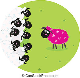 mouton, rose, blanc