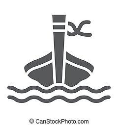 mouton, solide, signe, modèle, long, arrière-plan., queue, vecteur, mer, graphiques, icône, blanc, tai, bateau, glyph