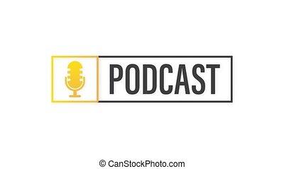 mouvement, écusson, podcast., graphics., icône, timbre, logo.