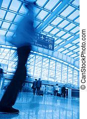 mouvement, aéroport, barbouillage, passager