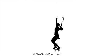 mouvement, accès, rebondit, jouer, girl, haut, lent, tennis, racket., silhouette.