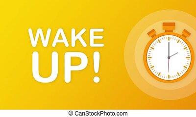 mouvement, affiche, graphics., clock., réveiller, reveil