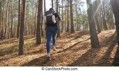 mouvement, appareil-photo vidéo, situation, entre, élevé, courant, femme, loin, forêt, femme, lent, randonneur, s'échapper, 4k, arbres., danger
