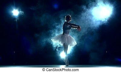 mouvement, ballerine, blue., lent, classe