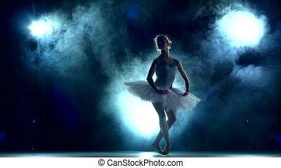 mouvement, ballerine, lent, séance entraînement, classe, bleu