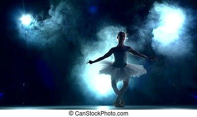 mouvement, ballerine, lent, séance entraînement, classe
