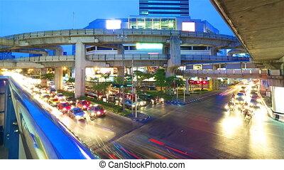 mouvement, bangkok, timelapse, night.