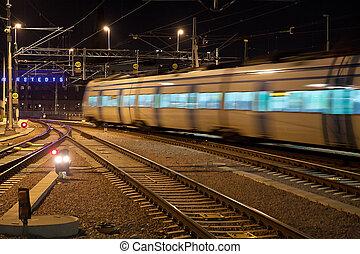 mouvement, banlieusard, barbouillage, train