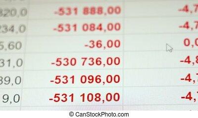 mouvement, business, crise, effondrement, screen., économique, capturé, marché financier, monitor., crise, concept, grayscale, stockage, écran, lcd, commerce