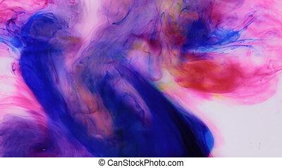 mouvement, coloré, drop., eau, arrière-plan., eau, encre, blanc