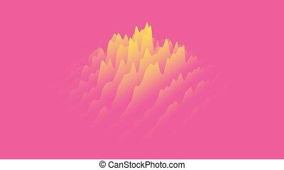mouvement, couches, animé, fait boucle, onduler, 3d, gradient, cg, rendering., jaune rouge, seamless, design., arrière-plan.