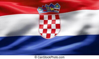 mouvement, drapeau, croatie, lent