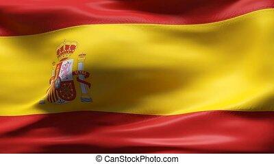 mouvement, drapeau espagne, lent