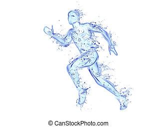 mouvement, fait, figure, liquide, athlète, -, eau, courant, typon, tomber, gouttes, homme