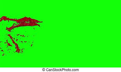 mouvement, lent, éclater, screen), 1, sanguine, (green