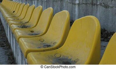 mouvement, lent, chaises, jaune, 120, fps, stade, vide