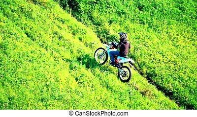 mouvement, lent, coup, croix, montant, en mouvement, motocyclette, herbe, colline