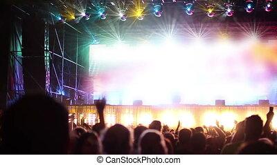 mouvement, lent, coup, foule, festival., danse, regarder, musique, ombre, étape