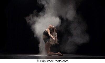 mouvement, lent, lancement, air., particules, danseur, poussière, professionnel