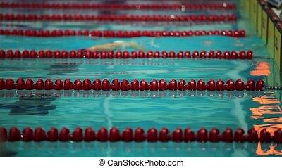 mouvement, lent, piscine, natation