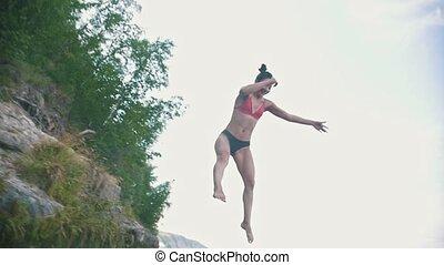 mouvement, lent, saut, tour, eau, girl