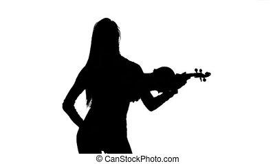 mouvement, lent, silhouette, violiniste, arrière-plan., blanc