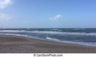 mouvement, lent, vagues océan