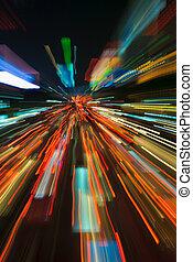mouvement, lumières, trafic, barbouillage