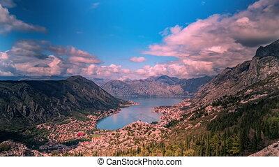 mouvement, nuages tempête, matin, sur, coup, montagnes, montenegro